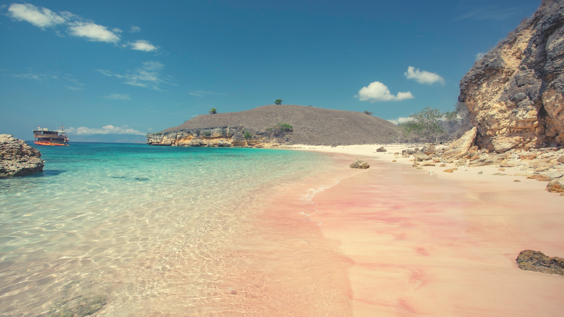 Travel with Friends at The Pink Beach, Komodo National Park, Indonesia